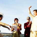 very happy wedding ceremony on Sydney Harbour